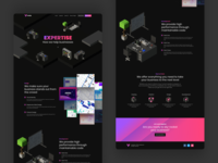 Voxel Expertise Landing Page blocks simple gradient laptop desk scene presentations icons illustrations ux web design services landing page dark isometric 3d ui design