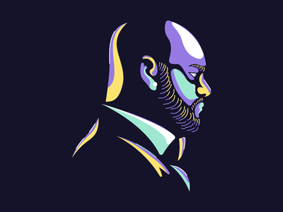 Illustrated Portrait Exploration cosmin exploration round colors self beard face portrait illustration