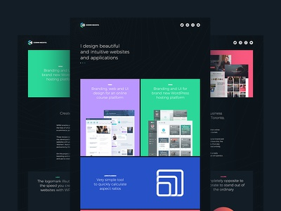 Portfolio is live! flat colors colorful clean simple design dark portfolio