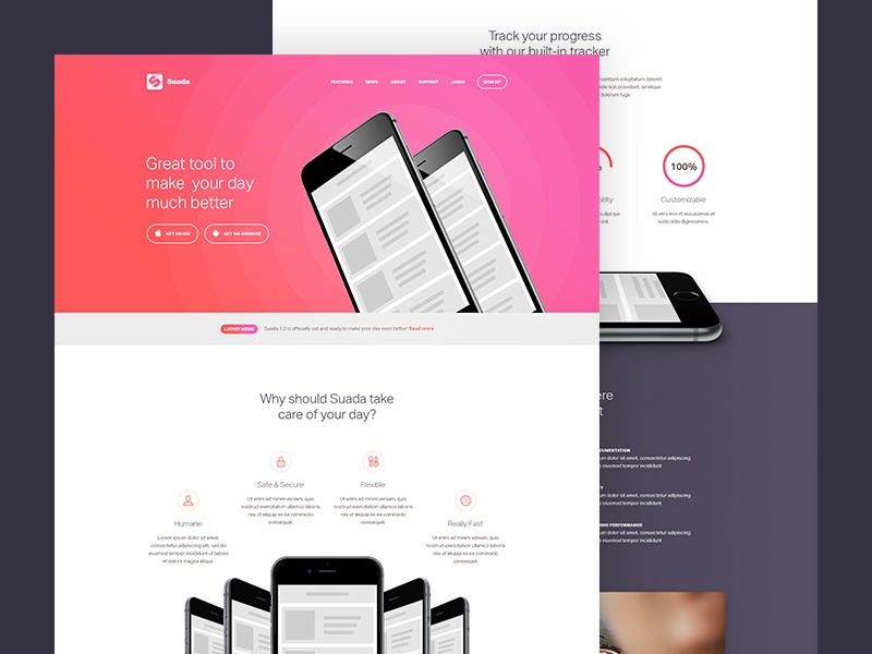 App Landing Page [PSD] gradients flat clean free concept design homepage page landing mobile app application