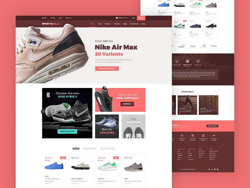 Ecommerce Landing Page 2 [PSD] free simple flat red web design clean shoes sports ecommerce landing page