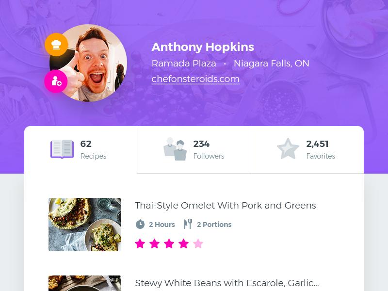 User Profile [PSD] recipes food flat freebie resource psd ui profile user