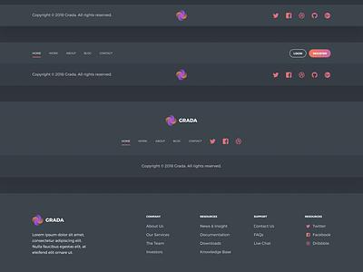 Grada - Free Figma UI Kit typography round gradients flat modules dark kit ui free figma grada