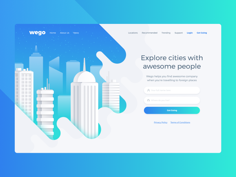 Wego ux ui explore buildings blue light gradients illustration city