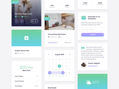 Toxin UI Kit for Figma [FREE] figma resource startup rounded simple gradients modules components cards free ui kit