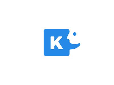 Klat Logo Animation klarens bubble message symbol wordmark clean simple blue talk chat face animation logo