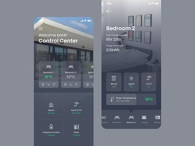 Home Control App gray dark ios app ux ui mobile monitoring house room temperature dashboard control home