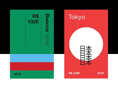 Travel Cards vector ux ui interface graphic digital design cards tokyo japan argentina
