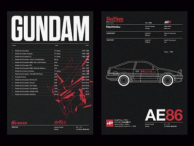 Anime Posters mecha car grid editorial poster roboto anime japan flat logo illustrator outline brand design icon vector illustration