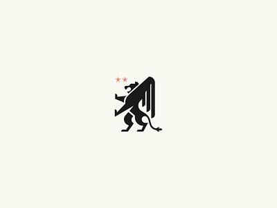 Venice Lion star wings badge lion flat branding logo illustrator brand colors design icon vector illustration