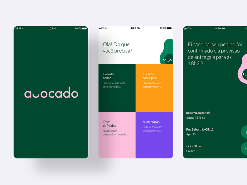 Avocado App colorscheme delivery app green pink grid layout grid colors delivery avocado ux app ui interface design vector illustration