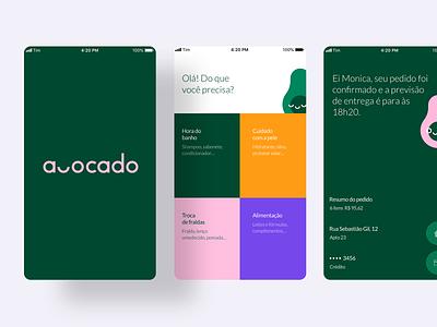 Avocado App colorscheme delivery app green pink grid layout grid colors delivery avocado ux app ui interface design vector illustration