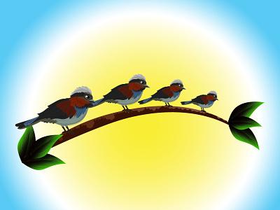 Beautiful Birds on tree vector Icon And illustration bird and tree tree sky bird creative typography illustration graphic design business logo design branding vector
