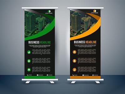 Roll Up Banner corporate banner roll up ux ui illustration business graphic design design branding vector