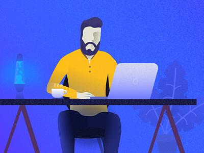 Workplace — Man sitting at his desk flat desk navy blue workplace man workspace illustration