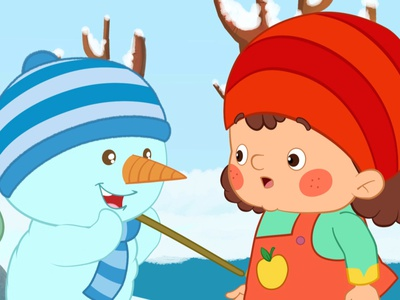 Snowman and kid art hoseinnazarpour animation kid girl snowman vector illustration design moho cutout 2danimation shortfilm