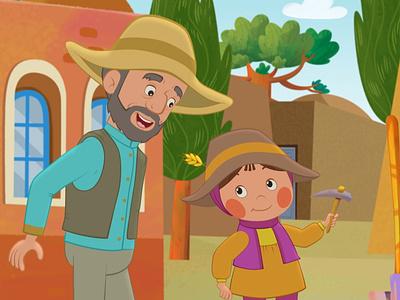 Daddy & kid girl kid girl and father shortfilm art hoseinnazarpour animation illustration design moho cutout 2danimation