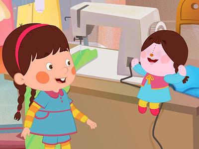 Kid & Doll vector doll girl kid shortfilm animation design cutout moho hoseinnazarpour 2danimation