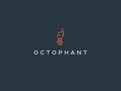 Octophant logoflow logo modern simple webdev web developer web hybrid octopus elephant