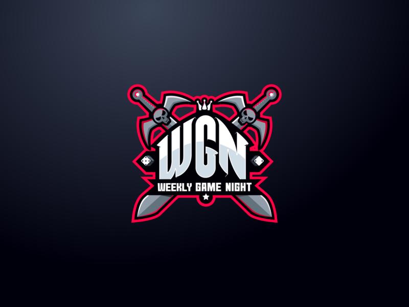 Weekly Game Night Logo logoflow dices dice pones pone swords sword logotype logo blog board game game