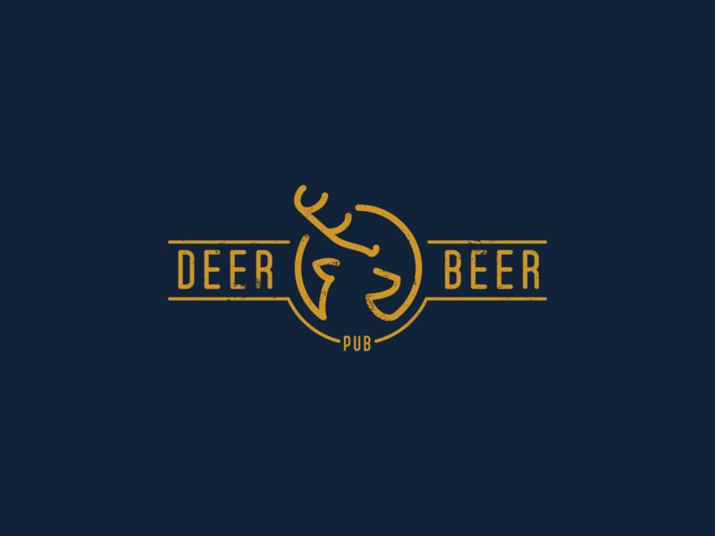 Deer Beer Pub concept idea logoflow emblem bottle antler logo pub beer deer