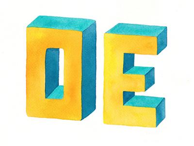 OE watercolor 3d lettering lettering type