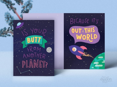 Nice Butt 🍑🚀✨ illustration lettering digital art cheeky funny greeting cards