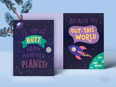 Nice Butt 🍑🚀✨ illustration lettering digital art cheeky funny greeting cards