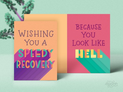 Speedy recovery 🤢 lettering greeting cards funny digital art cheeky