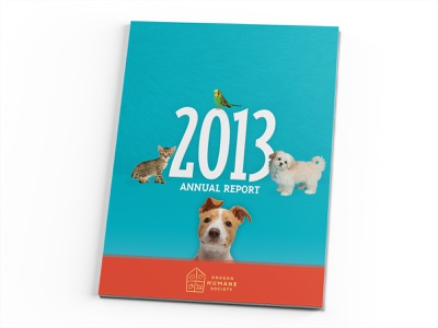 Oregon Humane Society 2013 Annual Report Cover graphic  design print design editorial design