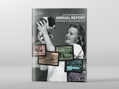 Oregon Humane Society 2017 Annual Report Cover design print design editorial design