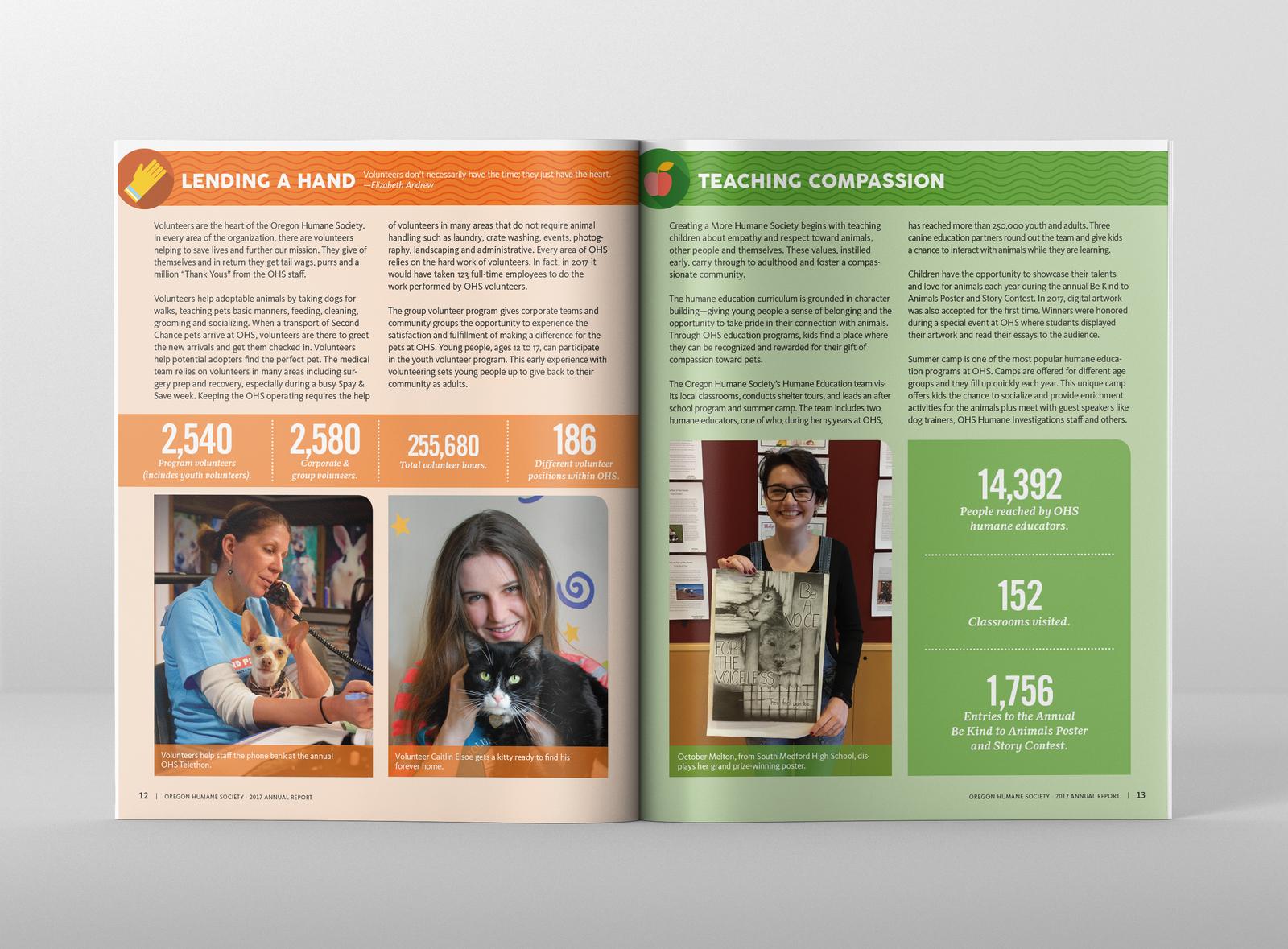 Oregon Humane Society 2017 Annual Report Spread 04 graphic  design newsletter magazine design print design editorial design