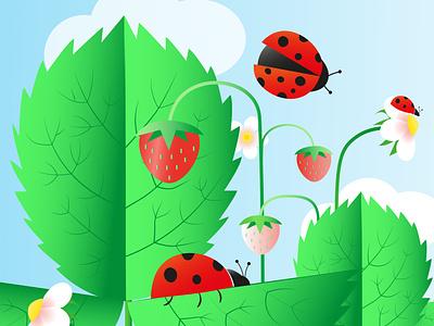 Blooming strawberries and ladybugs nature art nature flat blooming strawberry berry kids cartoon illustration illustrator summer vibes summer illustration botanical illustration botanical leaves green ladybug summer