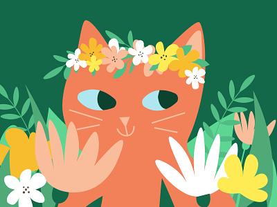 Cute red cat in grass personal illustration art illustrator cute nature botanical summer spring flowers design illustration flat cartoon kitten cat pet