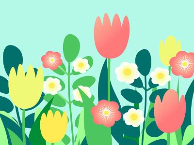 Illustration of spring flowers adobe illustrator illustrator nature cartoon nature art spring summer illustration flat tulip garden flowers botanical