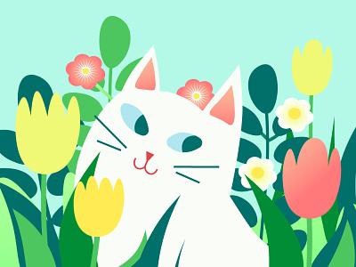 Сat in garden spring flowers flat pets kitten spring cat adobe illustrator flowers design illustrator nature art nature summer illustration cartoon botanical