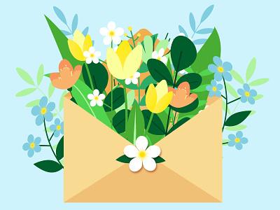 Spring bouquet in an envelope spring flower bouquet letter nature art adobe illustrator illustrator summer flowers spring nature illustration flat
