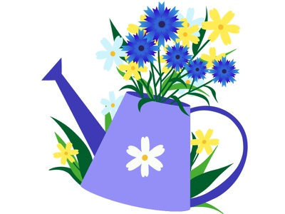 Watering can with flowers nature summer flowers illustrator nature art illustration flat