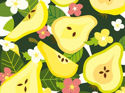 Summer pattern with pears adobe illustrator vegan food food fruits flowers botanical illustrator summer illustration flat