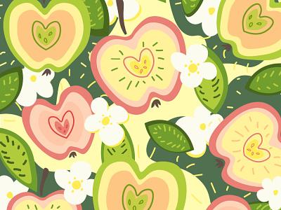 Pattern with apples and flowers apple adobe illustrator flowers botanical summer nature illustration flat