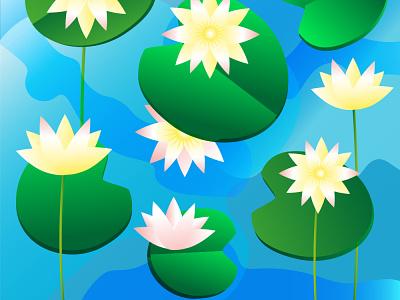 Water lilies in the pond water summer illustraion adobe illustrator flowers botanical nature illustration flat