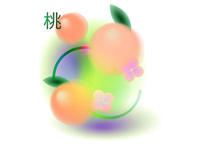 Soft peach botanical japanese fruit illustration peach summertime summer adobe illustrator illustrator illustration flat