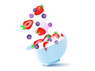 Yogurt with berries. Summer berry food healthy summer illustrator adobe illustrator illustration flat