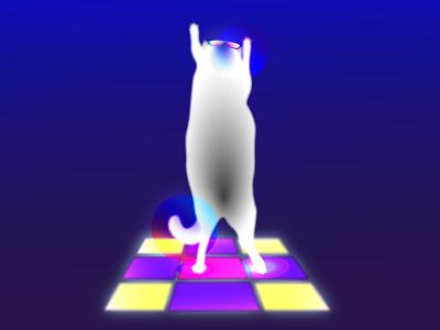 Dancer cat Louis party disco dancer cat summer illustrator adobe illustrator illustration flat
