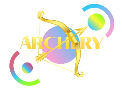 Badge of Summer Olympic archery design illustrator badge sport olimpic summer adobe illustrator flat illustration