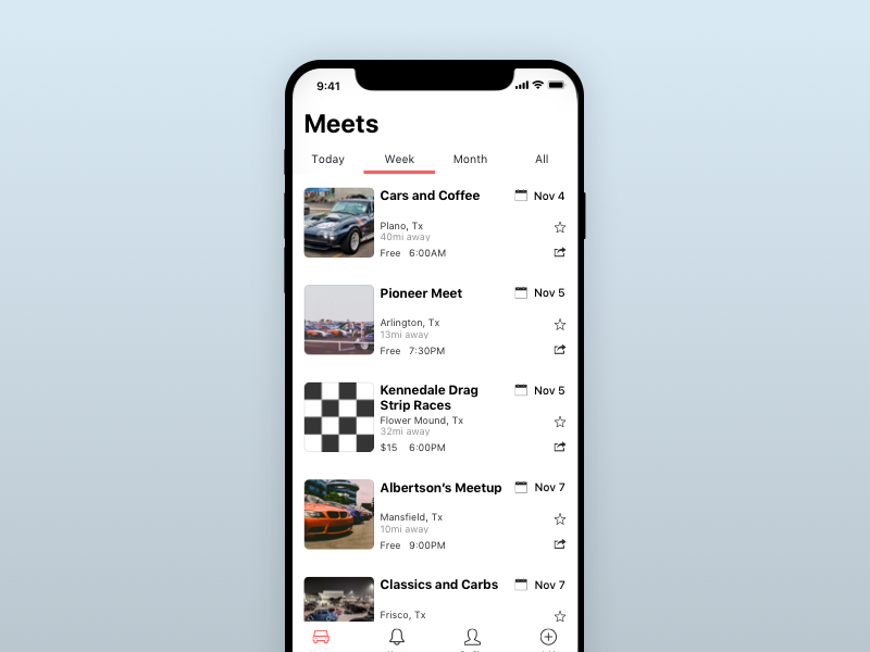 Car Meetup App by Meaz Hajdarovic on Dribbble