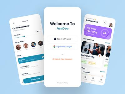 Heal You - Fitness App UI Kit design resource ux design ui design gym app health app fitness app ui kit fitness app app app design app ui kit ui kit free ui resource ui resource uihut