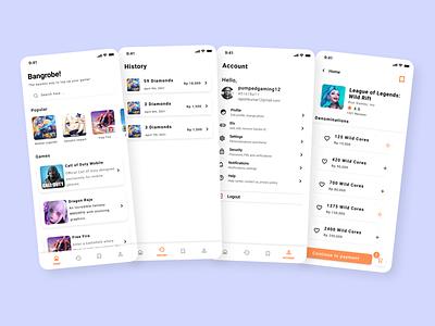 Bangrobe! Mobile Game Top-up UI app ui