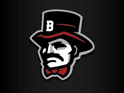 Barons baron sports logo tophat bowtie mascot character mustache