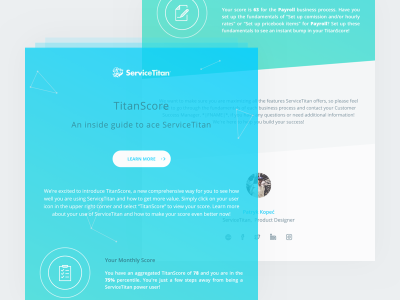 TitanScore Newsletter gradient green blue newsletter titanscore servicetitan